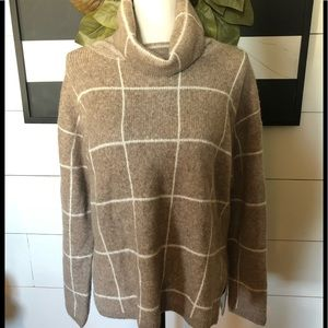 NWT Madewell Windowpane Turtleneck Sweater Sz S